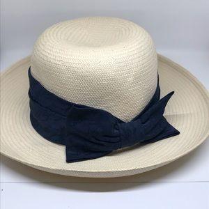 Vintage Onorio Cioppi Hat Navy Blue Bow Italian